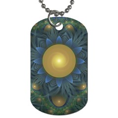 Beautiful Orange & Blue Fractal Sunflower of Egypt Dog Tag (Two Sides)