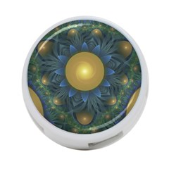Beautiful Orange & Blue Fractal Sunflower Of Egypt 4 Port Usb Hub (one Side)