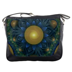 Beautiful Orange & Blue Fractal Sunflower of Egypt Messenger Bags