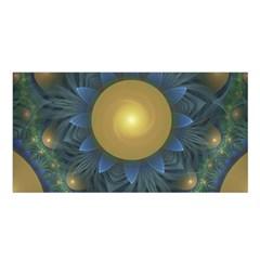 Beautiful Orange & Blue Fractal Sunflower of Egypt Satin Shawl