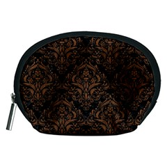 Damask1 Black Marble & Brown Wood Accessory Pouch (medium)