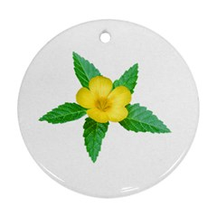 Yellow Flower With Leaves Photo Ornament (Round)