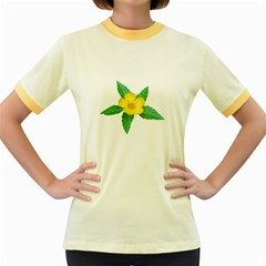 Yellow Flower With Leaves Photo Women s Fitted Ringer T Shirts