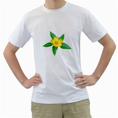 Yellow Flower With Leaves Photo Men s T Shirt (white) (two Sided)