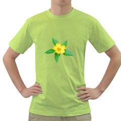 Yellow Flower With Leaves Photo Green T-Shirt
