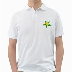 Yellow Flower With Leaves Photo Golf Shirts