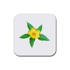 Yellow Flower With Leaves Photo Rubber Coaster (Square)