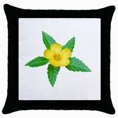 Yellow Flower With Leaves Photo Throw Pillow Case (black)