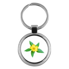 Yellow Flower With Leaves Photo Key Chains (round)