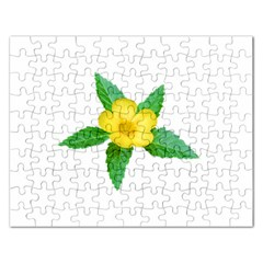 Yellow Flower With Leaves Photo Rectangular Jigsaw Puzzl