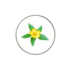 Yellow Flower With Leaves Photo Hat Clip Ball Marker (10 pack)
