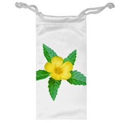 Yellow Flower With Leaves Photo Jewelry Bag
