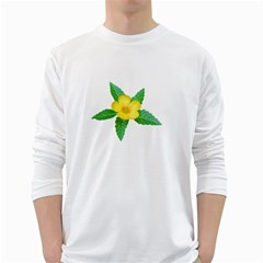 Yellow Flower With Leaves Photo White Long Sleeve T-Shirts