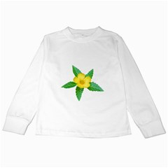 Yellow Flower With Leaves Photo Kids Long Sleeve T Shirts