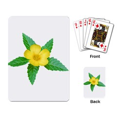 Yellow Flower With Leaves Photo Playing Card