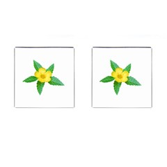 Yellow Flower With Leaves Photo Cufflinks (Square)
