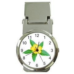 Yellow Flower With Leaves Photo Money Clip Watches