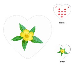 Yellow Flower With Leaves Photo Playing Cards (Heart)