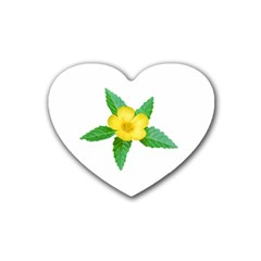 Yellow Flower With Leaves Photo Heart Coaster (4 pack)