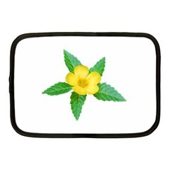 Yellow Flower With Leaves Photo Netbook Case (Medium)