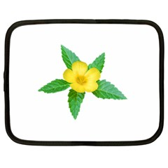 Yellow Flower With Leaves Photo Netbook Case (xl)