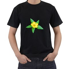 Yellow Flower With Leaves Photo Men s T Shirt (black)