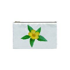 Yellow Flower With Leaves Photo Cosmetic Bag (Small)