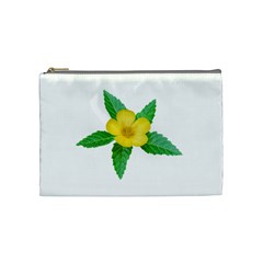 Yellow Flower With Leaves Photo Cosmetic Bag (medium)