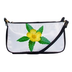 Yellow Flower With Leaves Photo Shoulder Clutch Bags
