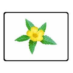 Yellow Flower With Leaves Photo Fleece Blanket (Small)