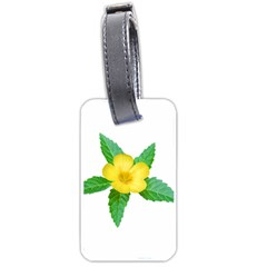 Yellow Flower With Leaves Photo Luggage Tags (one Side)