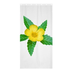 Yellow Flower With Leaves Photo Shower Curtain 36  X 72  (stall)