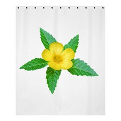 Yellow Flower With Leaves Photo Shower Curtain 60  x 72  (Medium)
