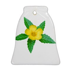 Yellow Flower With Leaves Photo Bell Ornament (Two Sides)
