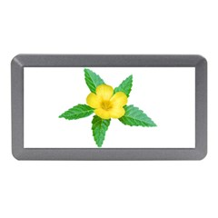 Yellow Flower With Leaves Photo Memory Card Reader (mini)