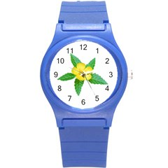 Yellow Flower With Leaves Photo Round Plastic Sport Watch (S)