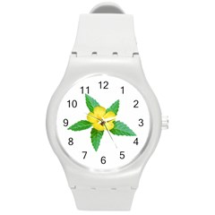 Yellow Flower With Leaves Photo Round Plastic Sport Watch (M)