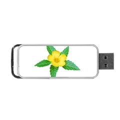 Yellow Flower With Leaves Photo Portable USB Flash (Two Sides)