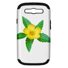 Yellow Flower With Leaves Photo Samsung Galaxy S III Hardshell Case (PC+Silicone)
