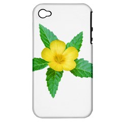 Yellow Flower With Leaves Photo Apple iPhone 4/4S Hardshell Case (PC+Silicone)