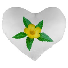Yellow Flower With Leaves Photo Large 19  Premium Heart Shape Cushions