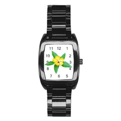 Yellow Flower With Leaves Photo Stainless Steel Barrel Watch