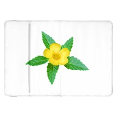 Yellow Flower With Leaves Photo Samsung Galaxy Tab 8 9  P7300 Flip Case