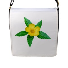 Yellow Flower With Leaves Photo Flap Messenger Bag (L)