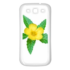 Yellow Flower With Leaves Photo Samsung Galaxy S3 Back Case (White)