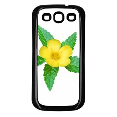 Yellow Flower With Leaves Photo Samsung Galaxy S3 Back Case (black)