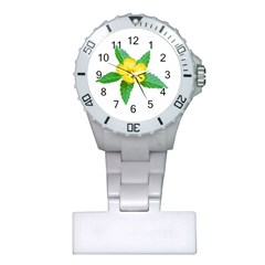 Yellow Flower With Leaves Photo Plastic Nurses Watch