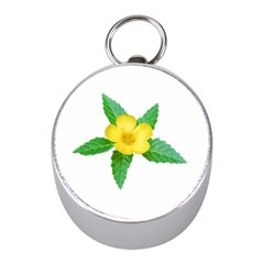 Yellow Flower With Leaves Photo Mini Silver Compasses