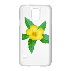 Yellow Flower With Leaves Photo Samsung Galaxy S5 Case (white)