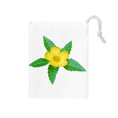 Yellow Flower With Leaves Photo Drawstring Pouches (medium)